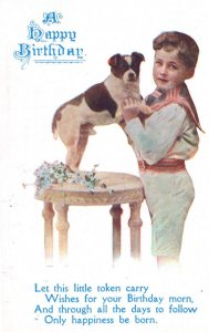 Dog With Missing Tail Happy Birthday Greetings WW1 Antique Postcard