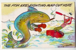 P414 JL 1960 postcard the fish are fighting mad out here