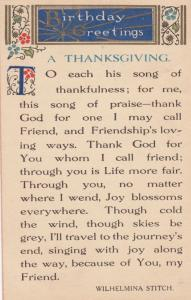 Wilhelmina Stitch Birthday Greetings & Christian Thanksgiving Postcard