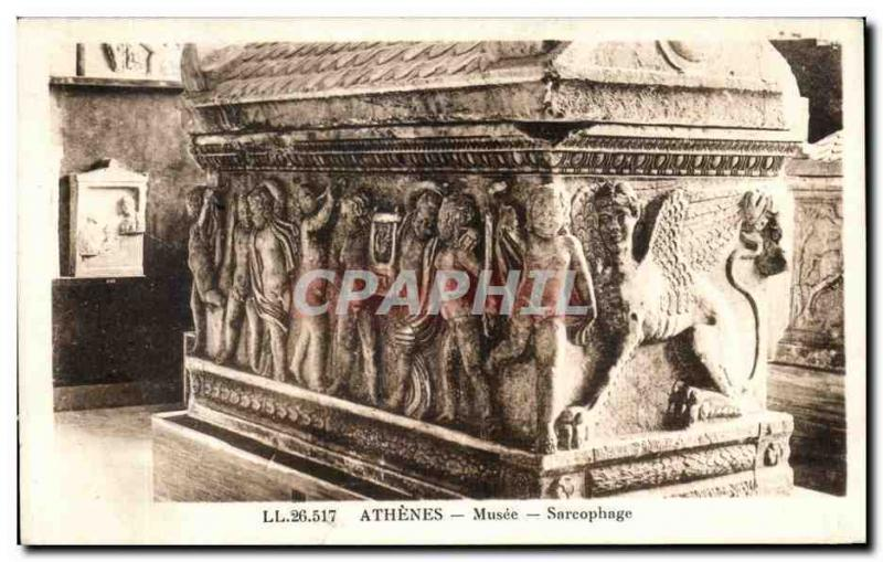 CPA Grece Greece Athenes Musee Sarcophage