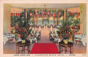 Marine Dining Room, Edgewater Beach Hotel, Chicago, IL, Early Postcard, Used
