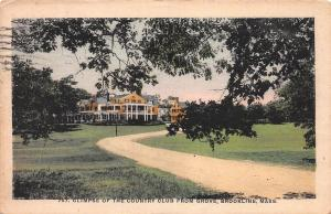 Glimpse of Country Club from Grove, Brookline, MA, Early Postcard, Used