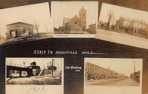 Hicksville OH B & O Railroad Station High Street Church Multi-View RPPC Postcard