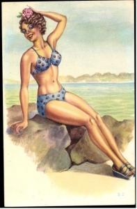 pop art postcard PIN UP WOMAN BATHING BIKINI BEAUTY WOMEN  Old POSTCARD     z1