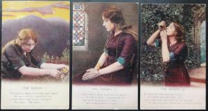 THE ROSARY: Bamforth Song Cards Set of 3 No 4803/1/2/3