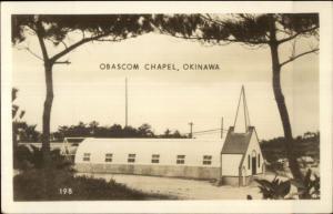 WWII Okinawa Japan Obascom Chapel Real Photo Postcard dcn