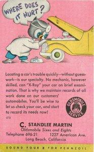 1947 Long Beach California Standlee Martin Oldsmobile Auto Service Owl Postcard
