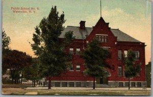 Watervliet, New York Postcard Public School No. 9 Building View / 1914 Cancel