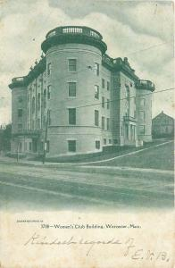 Worcester Massachusetts~Womens Club Building~Round Tower~1910 B&W Postcard