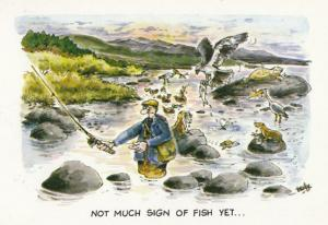 Disaster Holiday incl Cycling Fishing 4x Comic Humour Postcard s