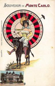 Souvenir Monte Carlo Beautiful Woman Riding Donkey Signed Artelier Postcard