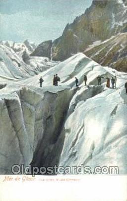 Mer de Glace Mountin, Rock Climbing, Explorer, Old Vintage Antique Postcard P...