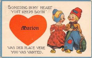 Something in My Heart Says Marion Iowa~The Place You're Wanted~1913 Postcard