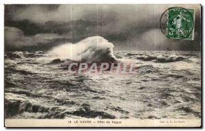 Old Postcard Le Havre Wave Effect
