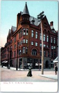 1900s Utica, New York Postcard YMCA Building Street View Boarding House Hotel