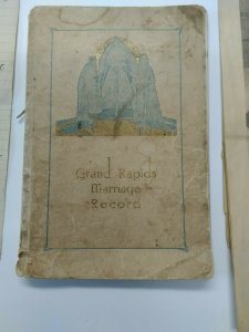 Vintage Grand Rapids,MI Marriage Record Booklet Used Hand-Written Recipe