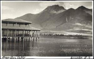 ecuador, Lago San Pablo, Imbabura Volcano (1940s) RPPC