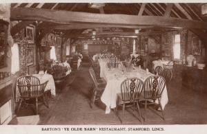 Bartons Ye Olde Barn Restaurant Stamford Lincs Old Real Photo Postcard