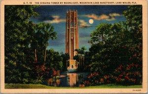 Vtg Singing Tower by Moonlight Mountain Lake Sanctuary Lake Wales FL Postcard