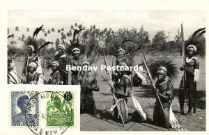 papua new guinea, Group Armed Native Warriors (1950s) RPPC, Stamps