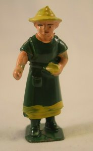 AE-138 Toy Farmers Wife Woman, Cast Metal Gray Color, 2.5x1.0=inches Vintage
