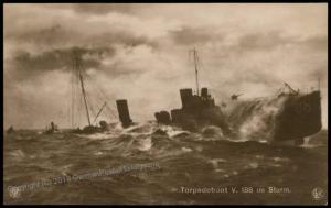 Germany WWI Navy Torpedoboot Torpedo Boat V188  RPPC 70729
