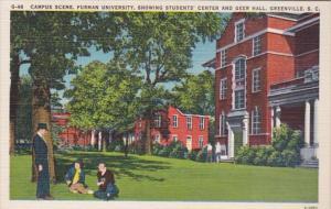 South Carolina Greenville Campus Scene Furman University Showing Students' Ce...
