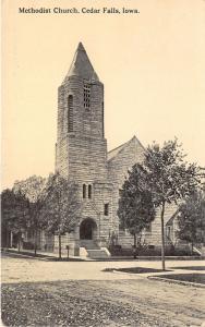 Cedar Falls Iowa~Methodist Church~Beautiful Stone Bldg~Unpaved Street~c1910 Pc