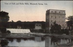Mammoth Springs AR Falls & Roller Mills c1910 Postcard