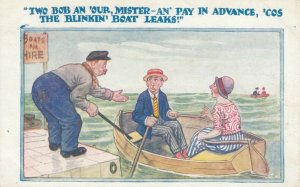 Owner asking for boat rental payment to couple - boat leaks, 1900-10s
