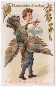 Vintage Thanksgiving Postcard Boy Carrying Turkey Gold Fruit Embossed Jaeger