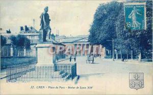 Old Postcard Caen Park Place Louis XIV Statue