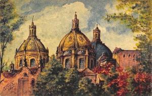 Mexico Cupulas de el Carmen (San Angel) F. Lugo 1936 Artist Signed