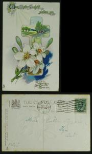 Easter Tuck lilies and cross greeting verse pmk 1912