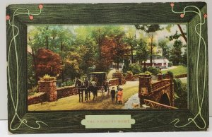 The Country Home, Stone Bridge Horse & Carriage Picturesque Scene Postcard C22
