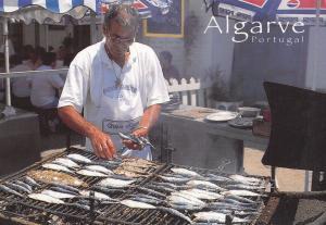 Algarve Portugal Cooking Fish Sardine Market Trader Postcard