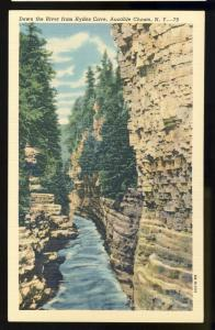 Ausable Chasm, New York/NY Postcard, River From Hydes Cave