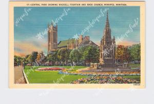 PPC POSTCARD CANADA MANITOBA WINNIPEG CENTRAL PARK SHOWING WADDELL FOUNTAIN AND