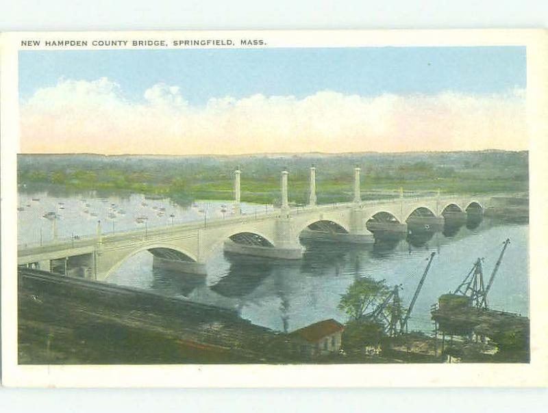 Unused W-Border BRIDGE SCENE Springfield Massachusetts MA HJ0266