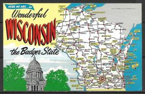 Wisconsin - Wonderful Wisconsin - The Badger State - Map - [WI-081]