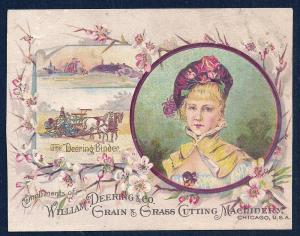VICTORIAN TRADE CARD Wm Deering & Co Binders Reapers & Mower