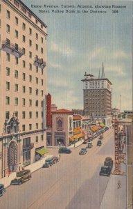 Arizona Tucson Stone Avenue Showing Pioneer Hotel & Valley Bank sk2842