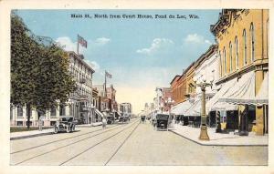 Fond Du Lac Wisconsin Main Street Scene From Court House Antique Postcard K63283