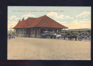LANSING MICHIGAN CENTRAL RAILROAD DEPOT TRAIN STATTION VINTAGE POSTCARD