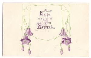 Easter Arts & Crafts Embossed Flowers Vintage Postcard 1910
