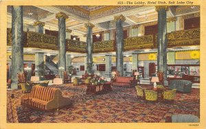 Salt Lake City Utah 1947 Postcard The Lobby Hotel Utah