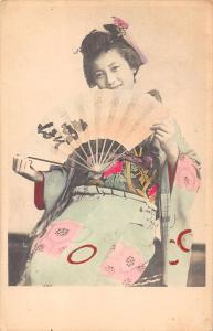 Japan Geisha Woman Holding Paper Fan Antique Postcard J65660