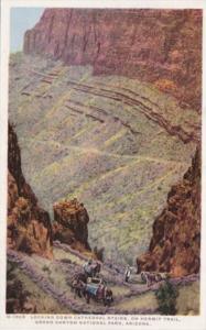 Fred Harvey Arizona Grand Canyon Looking Down Cathedral Stairs From Hermit Tr...