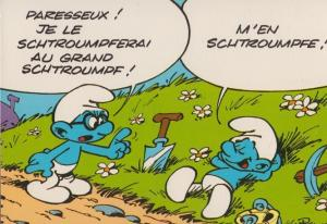 The Smurfs Gardening Rare French Comic Postcard