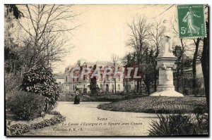 Old Postcard Sens Caisse d & # 39Epargne and the Square Jean Cousin